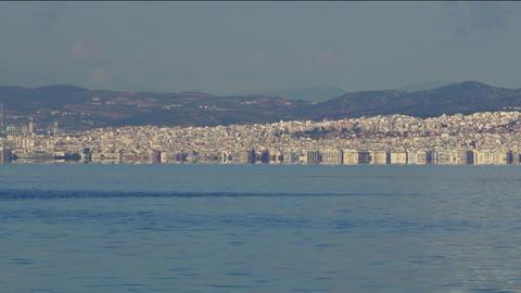 Thessaloniki, Greece landscape coastal view of west city area Footage