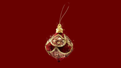 Watercolor Christmas tree decoration - Christmas bauble, on the alpha channel CG動画