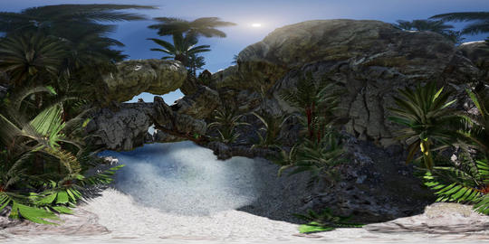 VR 360 cave paradise blue sea and sky. paradise on beach tropical island Footage