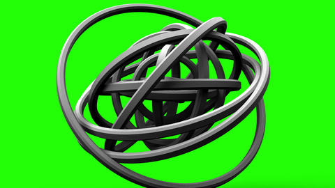 Loop Able White Circle Abstract On Green Chroma Key Animation