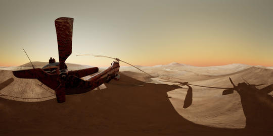 VR360 old rusted military helicopter in the desert at sunset Archivo