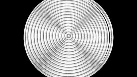 Loopable White Wire Frame Circle Abstract On Black Background Animation
