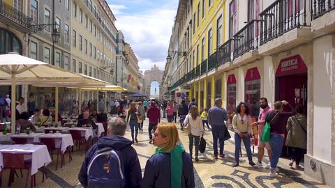 A hyperlapse running down Rua Augusta in Lisbon / Lisboa, Portugal GIF