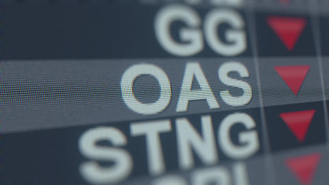 OASIS PETROLEUM OAS stock ticker with decreasing arrow, conceptual Editorial GIF