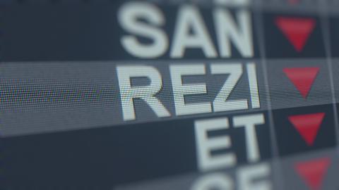 Stock exchange ticker of RESIDEO TECHNOLOGIES REZI with decreasing arrow Footage