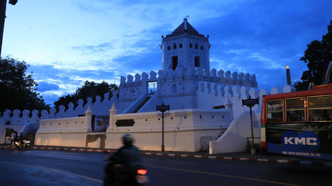 The beautiful white Phra Sumen Fort is the historical defencive constructure , Bangkok, Thailand Footage