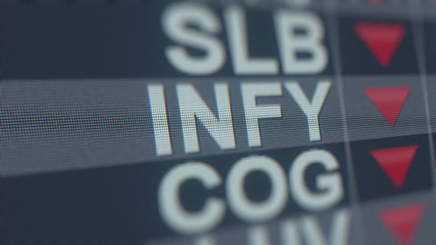 INFOSYS ADR INFY stock ticker with decreasing arrow. Editorial crisis related Footage