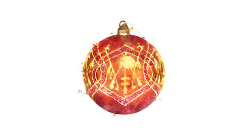 Watercolor Christmas tree decoration - decorated ball, on the alpha channel CG動画