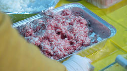 female hands mix minced meat GIF