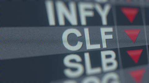 CLEVELAND-CLIFFS CLF stock ticker with decreasing arrow, conceptual Editorial GIF