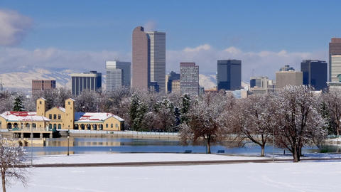 Denver Skyline in Winter Snow Pan Right GIF