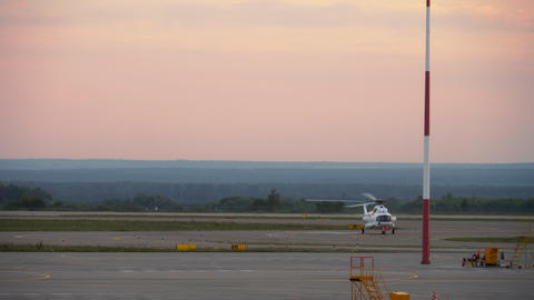 Helicopter landing at Kazan Airport Footage