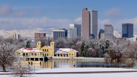 Denver Skyline in Winter Snow Zoom Out GIF