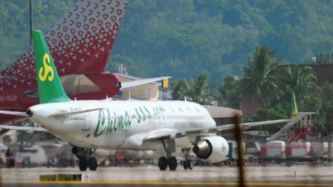 Airbus A320 Spring Airlines taxiing after landing GIF