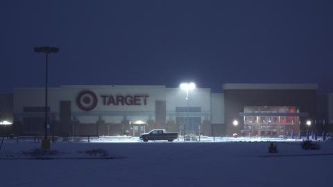 Target Retail Store Night Snowstorm Footage