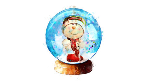 Watercolor Christmas decoration - snowman in a snow globe, on the alpha channel CG動画