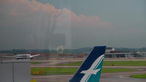 Widebody airplane departing Footage