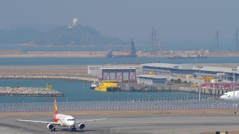 Traffic at Chek Lap Kok International Airport, Hong Kong GIF