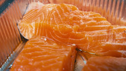 Red salmon fillet Close up ビデオ