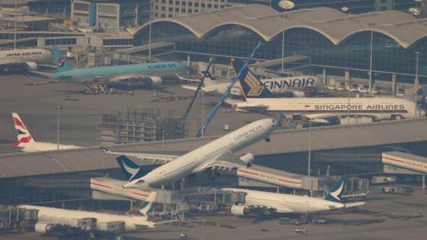 Aerial view Chek Lap Kok International Airport, Hong Kong GIF