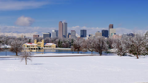 Denver Skyline Winter Snow Wide Shot Time Lapse GIF