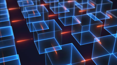 Connection structure of many neon cubes. Computer generated isometric background Footage