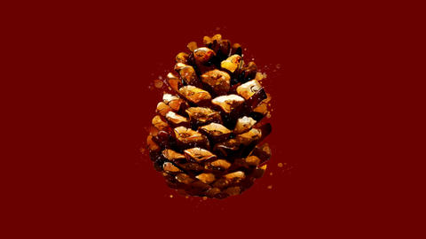 Watercolor Christmas tree decoration - brown pine cone, on the alpha channel GIF