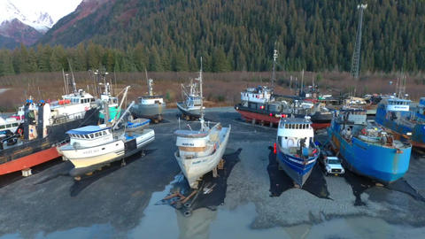 Fishing boats hauled out for the winter ビデオ