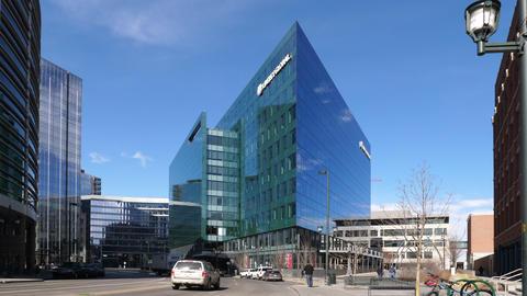 Liberty Global Building in Denver Wide Shot GIF