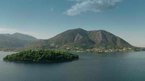Aerial view of beautiful mountainous island in the Ionian Sea, Greece GIF
