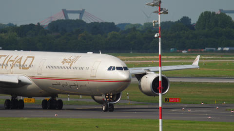 Widebody Aircraft taxiing before departure Footage