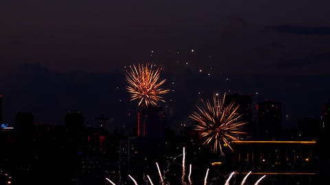 Colorful of fireworks at City day festival ビデオ