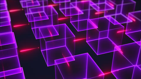 Connection structure of many neon cubes. Computer generated isometric background GIF