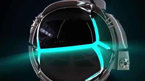 Astronaut head in a metal helmet close-up with neon light from the inside GIF