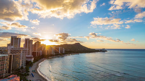 Hawaii Waikiki beach in Honolulu city. Travel landscape timelapse of Waikiki Footage