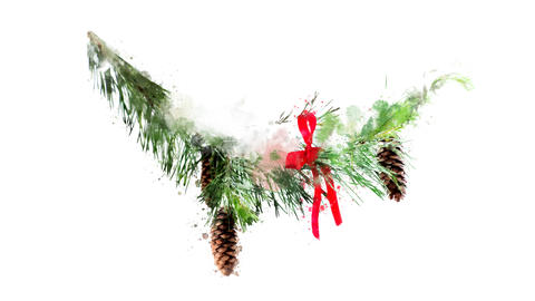 Watercolor Christmas decoration - fir branch with bow, on the alpha channel Videos animados