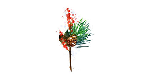 Watercolor Christmas decoration - fir twig and berries, on the alpha channel Videos animados