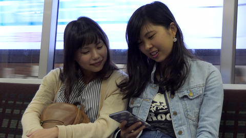 Young Women On Subway Train In Sapporo Hokkaido Japan Asia Live Action