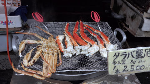 BBQ Grill With Crab As Seafood In Japan Market Live Action