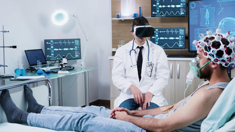 Doctor in a modern centre for brain analysis using vr headset GIF
