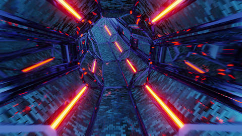 glowing fantasy middle age dungeon tunnel corridor 3d illustration motion Animation