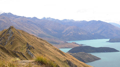 New Zealand Mountain lake nature landscape on famous Wanaka hike to Roys Peak Footage
