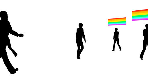 Flat with lgbt people silhouettes. Female sexual orientation icon. Lgbtq Live Action