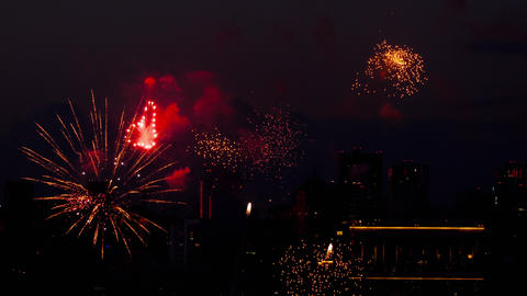 Colorful of fireworks at City day festival Archivo