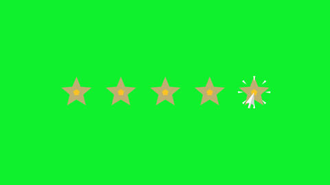 Mouse Click on 5 Stars Rating on Green Screen Animation