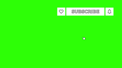 White Outlined Like Subscribe and Notifications Buttons in Upper Right Corner on Green Screen Animation