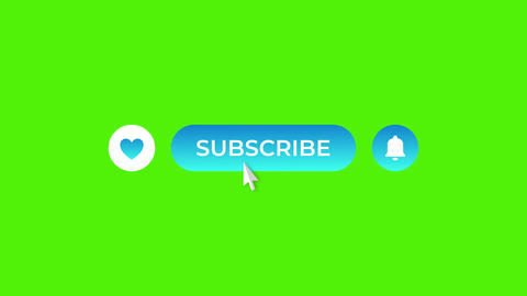 Cyan Gradient Round Like Subscribe and Notifications Buttons on Green Screen Animation