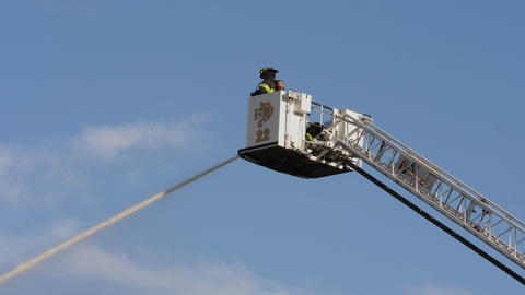 Denver Fire Department Boom Bucket Close Up ビデオ