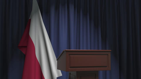 Flag of Poland and speaker podium tribune. Political event or statement related Live Action