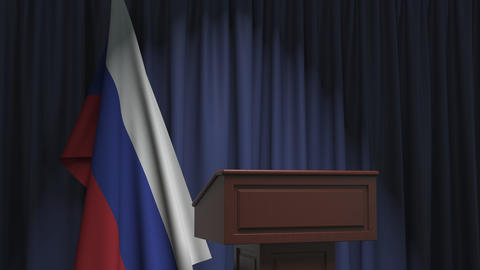 Flag of Russia and speaker podium tribune. Political event or statement related Live Action